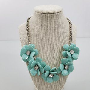 Jewelry - Floral Statement Necklace Blue Silver Tone Rhinest